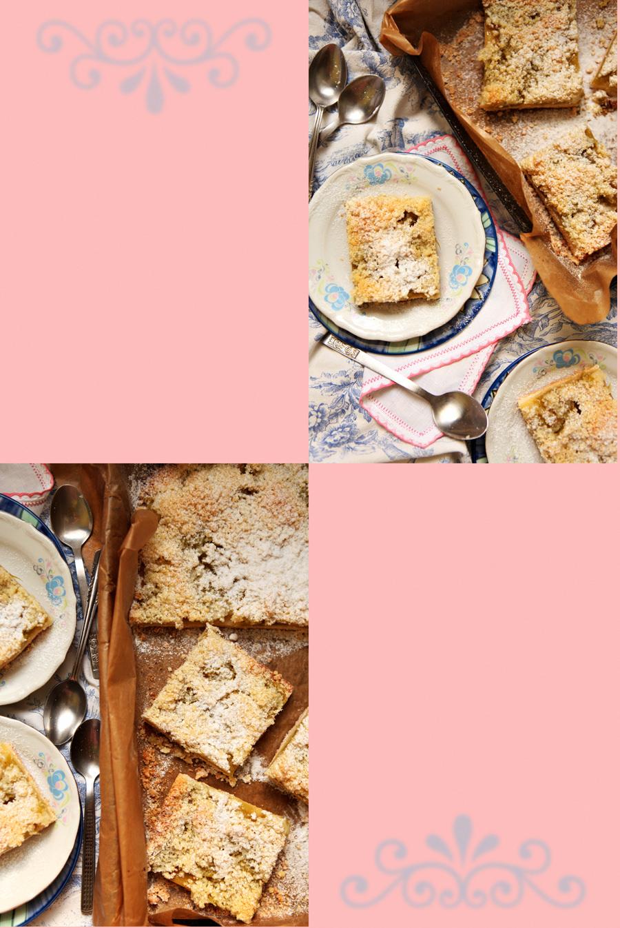 zdjęcia kulinarne kruche ciasto z rabarbarem