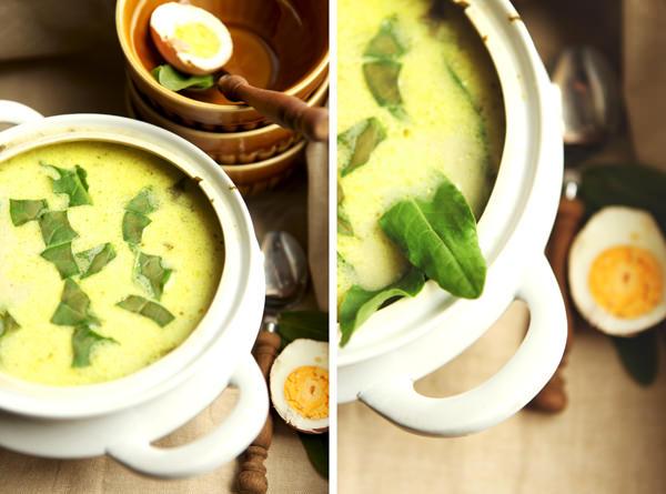fotografia kulinarna zupa szczawiowa z jajkiem