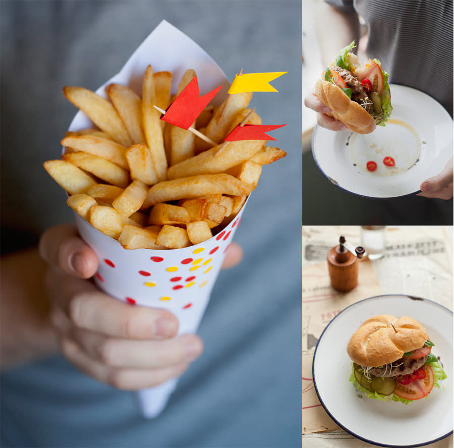 zdjęcia kulinarne frytki hamburger