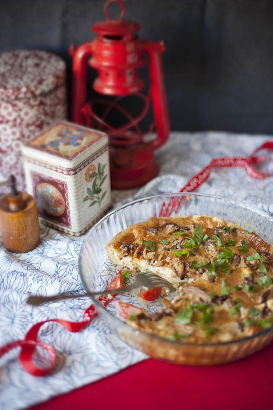 tarta z kurkami fotografia kulinarna